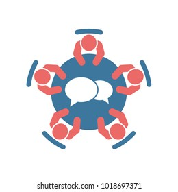 Business meeting and teamwork icon. Group of five people in conference room sitting around a table brainstorming and working together on new creative projects. Flat vector design.