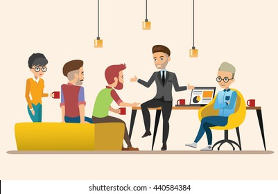 Business meeting. Teamwork shared working. Vector design set 3