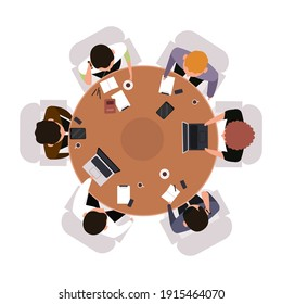 Business meeting top view. Office workers brainstorming or meeting at round table isolated vector illustration. Teamwork concept view from above. Meeting brainstorming table, business view teamwork