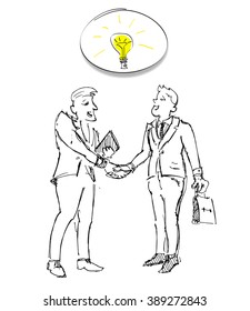 Business meeting of two businessmen with the light bulb . Vector sketch