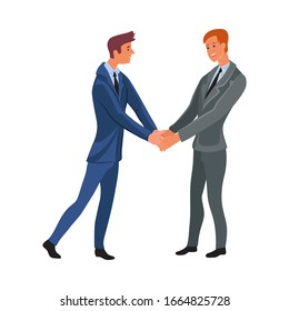 Business meeting of two office men shaking hands. Vector illustration in flat cartoon style.