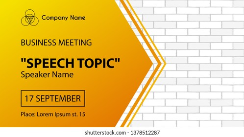 Business meeting vector banner template. Corporate event announcement flyer