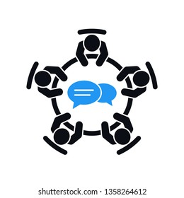 Business meeting vector icon. Group of five people sitting around a table brainstorming and working together on new creative projects.