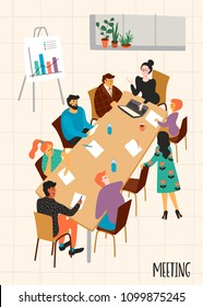Business meeting. Vectpr illustration with characters. Design elements