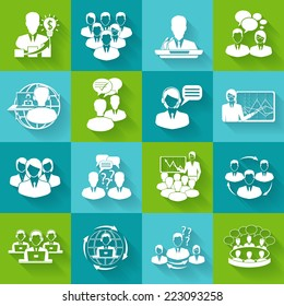 Business meeting white icons set of conference brainstorming group elements isolated vector illustration