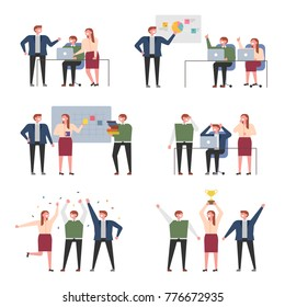 Business meetings with colleagues vector illustration flat design