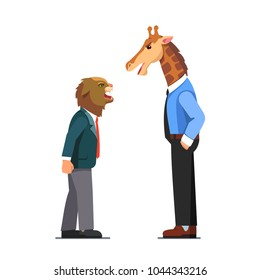 Business men with cat and giraffe heads wearing business suits arguing, yelling. Aggressive coworkers conflict. Angry cat & giraffe animal head person characters disagreement. Flat vector illustration