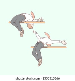 Business men doing high jump over bar. Successful businessmen jumpers overcoming difficult obstacle. Career challenge, success achievement creative concept. Flat thin line vector isolated illustration