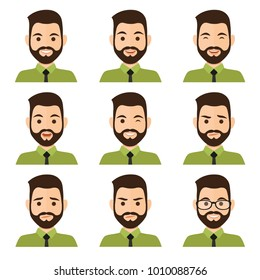 Business men flat avatars set with different facial expressions. Bussines people's emotional faces icons collection. Vector illustration.