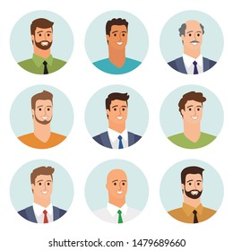 Business men flat avatars set with smiling face. Team icons collection. Vector illustration.