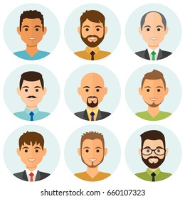 Hombres de negocios planean avatares con cara sonriente. Colección de iconos de equipo. Ilustración vectorial.