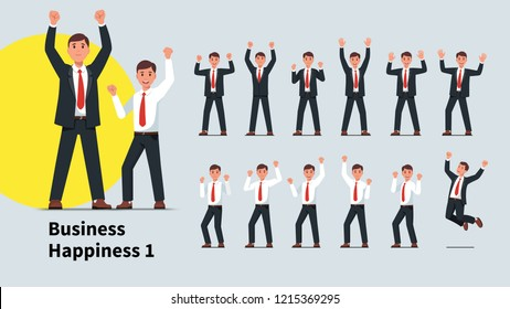Business men gesture set. Winner gesturing raised hands with clenched pumping fists. Successful business people win. Raised arms businessman celebrating achievement. Flat vector character illustration