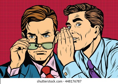 Business men gossiping pop art retro vector realistic hand drawing illustration