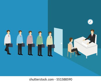 Business men line up to apply for a job. Job Application concept. Isometric 3d design. vector illustration