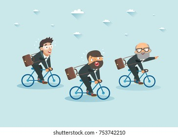 Business men on bicycles. Work competition concept. Teamwork. Old businessman shows the way for young colleagues. Ageism. Vector colorful illustration.