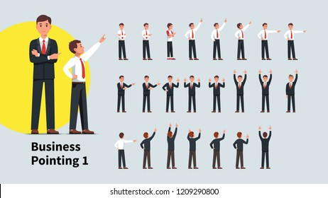 Business men pointing index finger in different directions set. Front and back views of gesturing businessman person. Businessman standing, pointing aside, up with one and both hands. Flat vector illu