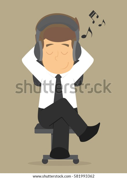 Business men relax by listening to music. vector