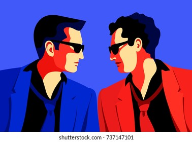Business men, secret agents, spies or security guards, face to face. Vector illustration Two men wearing suits, ties and sunglasses. Vector illustration