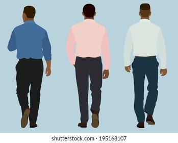 Business Men in Business Shirts Walking Away