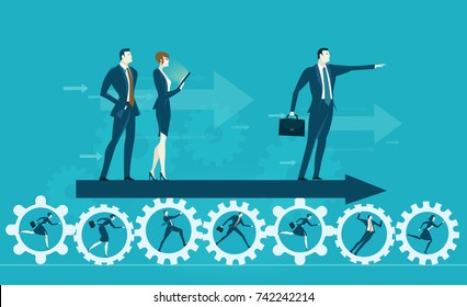 Business men showing direction for developing successful future. Business concept illustration