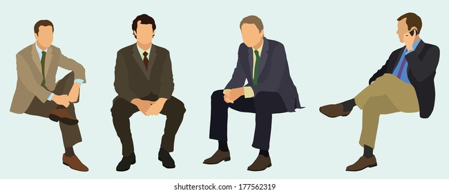 Business Men Sitting Down