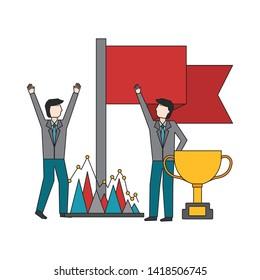 business men success flag trophy vector illustration