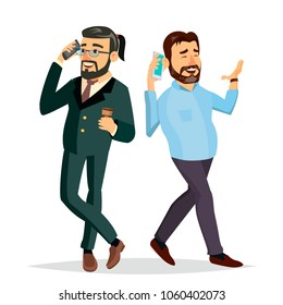 Business Men Talking To Each Other On The Phone Vector. Office Friends, Colleagues. Boss, CEO. Communicating Male. Isolated Flat Cartoon Character Illustration