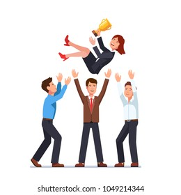 Business men team tossing in air woman winner holding golden cup trophy first prize. Business people group celebrating victory achievement throwing colleague woman up in air. Flat vector illustration