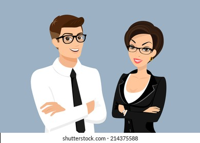 Business men and woman vector cartoon office people for corporate illustration wearing suit and standing isolated on blue background. Business men employee and executive manager leader are partners