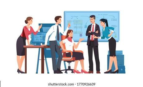 Geschäftsleute, weibliche Kollegen streiten sich um ihre Streitsache im Amt. Wütende Leute, die Geschäftsfragen diskutieren, schreien, gestalten. Uneinigkeit, Konflikt- und Teamarbeit. Flache Vektorgrafik