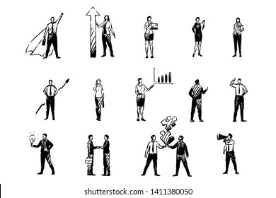 Business men and women, financial analyst, stock market traders, colleagues, young entrepreneurs, office workers set. Coworkers, people in formal clothes concept sketch. Hand drawn vector illustration