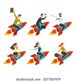 Business men and women flying on rockets. Successful people in formal clothes. Career advancement. Y Flat vector icons