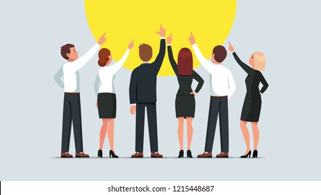 Business men and women group standing back to viewer and pointing up. Businessman and woman team pointing upwards together. Flat style isolated vector character illustration