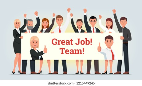 Business men and women managers team holding big banner celebrating successful job achievement & teamwork. Businessman, businesswoman people group standing together. Flat vector character illustration