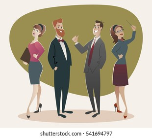 Business men and women proud of their success. Cartoon retro style 50's and 60's