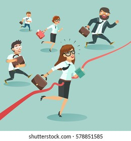Business men and women run and cut the red ribbon or finishing line to begin a new business venture. Gender equality in business concept. Colorful vector illustration in flat style