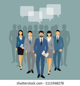 Business men and women silhouette. team business people group hold document folders  on blue background. Business people and speech bubble