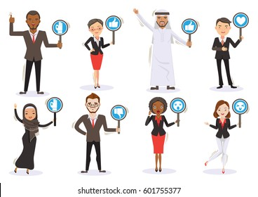 Business men and women Six Character Personality Holding sign, thumps up ,thumps down ,OK ,Surprised, love, icon.Multinational Team work Concept. Illustrations vector cartoons, isolated background