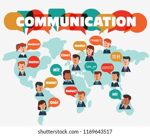 Business men and business women with speech bubbles in different languages. Communication, teamwork, assistance and connection vector concept. Partnership and international business