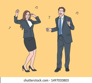 Business men and women in suits are dancing happily. hand drawn style vector design illustrations.