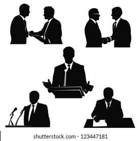 Business men.Political speaker silhouettes