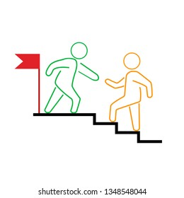 Business mentor help team partner. Creative Idea Concept of Mentor and Coaching. Moden Flat thin line icon designed vector illustration. eps 10