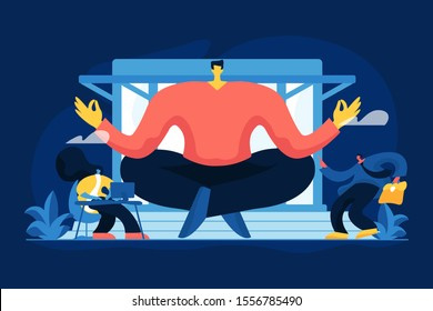 Business mentoring, coaching vector illustration. Corporate leadership, stress management, mentorship concept. Meditating businessman, wise executive manager and subordinates cartoon characters