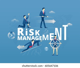 Business metaphor of financial risks precautions. Business people faceless characters in action around word RISK MANAGEMENT over digital world map. Vector illustration isolated on blue background