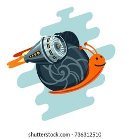 Business metaphor. Flying snail with rocket turbine. Start up symbol.