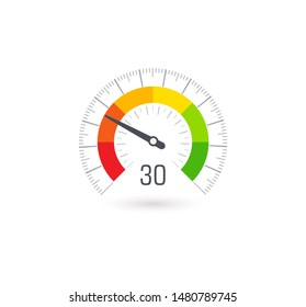 Business meter, indicator icon with colorful segments. Infographic for business rating and quality control, vector illustration.
