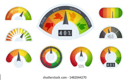 Business meter logos template. Cartoon realistic business indicator icons set, quality scale. Infographic for business rating and quality control, vector illustration.