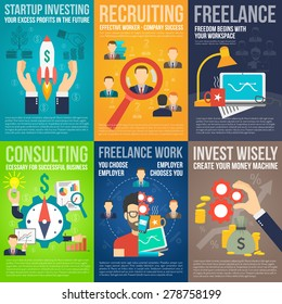 Business mini poster set with startup investing recruiting freelance work promo isolated vector illustration