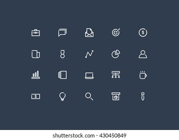 business minimal icons set vector.line design.
