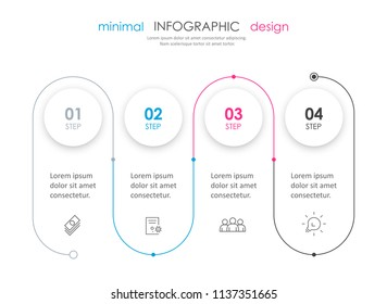 Business minimal Infographic design template with icons and 4 options or steps.  Can be used for process diagram, presentations, workflow layout, banner, flow chart, info graph.